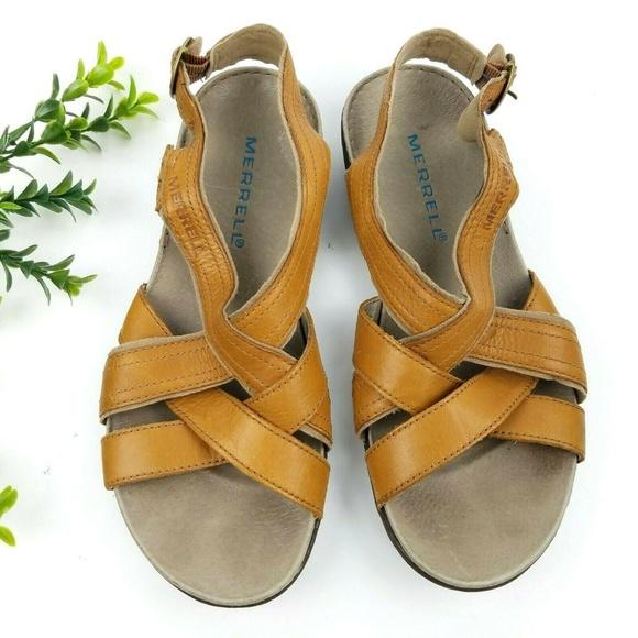 2ddd6582c56a MERRELL Bassoon Tan Leather Sandals
